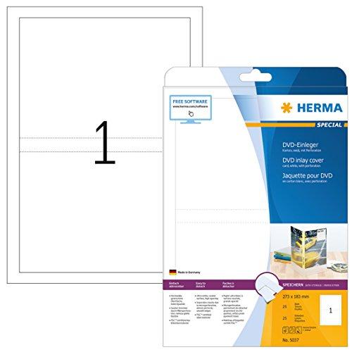 HERMA 5037 CD DVD Einleger für Jewel Case Hüllen DIN A4 (273 x 183 mm, 25 Blatt, Karton) perforiert, bedruckbar, nicht klebende Papier-Cover, 25 Inlays, weiß (Cd-cover-etiketten)