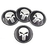 napstipated 4 St. Punisher Nabenkappen Naben Felgen Radnabe Deckel Aufkleber 60mm für VW, BMW etc.