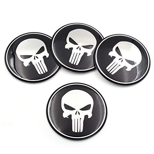 napstipated 4 St. Punisher Nabenkappen Naben Felgen Radnabe Deckel Aufkleber 60mm für VW, BMW etc (56 mm)