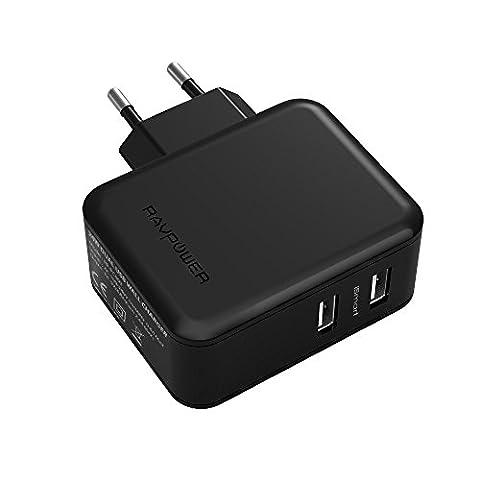 RAVPower 24W Chargeur USB Secteur Mural Universel 2 Ports USB