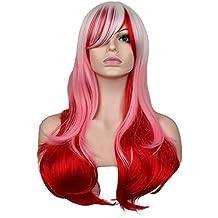 Recta Larga Peluca Mujer Traje De Fiesta Negro Rojo 68 Cabello SintéTico Pelucas