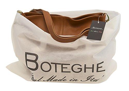 TOSCA Italienische Tasche Schultertaschen Damentasche Handtasche Echt Leder Made Italy Cognac