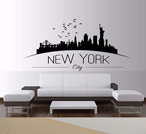 Zxfcczxf Wohnkultur Große Nyc New York City Skyline Wandtattoos Skyline Silhouette Wandaufkleber Schlafzimmer Dekoration 85 * 40 Cm