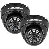 """FLOUREON Lot de 2 Caméras de Sécurité 1/3 """" 1200TVL Étanches IP65 CCTV DVR Dôme Vision Nocturne"""