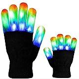 Sisaki Kreative Bunte LED leuchtende blinkende Vollfinger-Handschuhe Ausstattungen