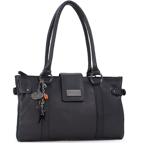 Catwalk Collection Handbags , Borsa con manici, Donna, Nero (Schwarz),