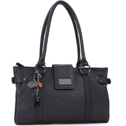 Catwalk Collection Handbags Damen Schultertasche, Schwarz - schwarz - Größe: M