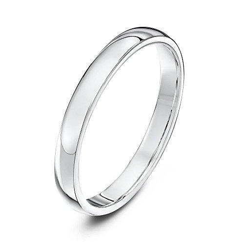 Theia Unisex Ehering Platin, Sehr massive ovale Form, poliert, 2,5mm - Größe 54 (17.2)