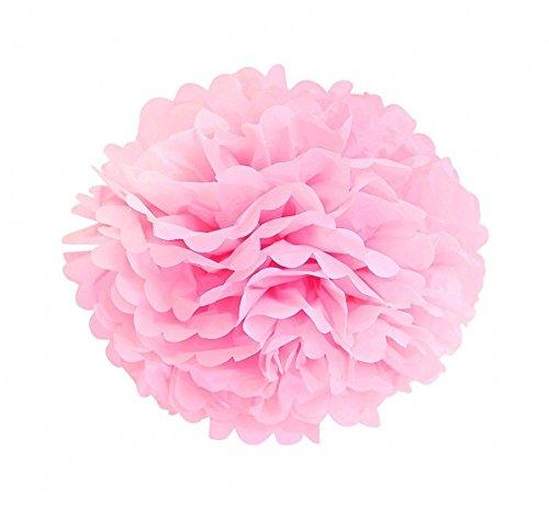 PomPoms Pompons 5er/10er 25cm Mixed Papier Blumen PomPoms Zum Aufhängen Dekorpapier schöne Dekor DIY Handwerk für Geburtstag Hochzeitsfest Basteln Babyshower Dekoration Feier Party Baby-Duschen Brautduschen Wohnungdeko (Pink, 5) ()