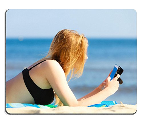 Liili mouse pad Natural rubber Mousepads Summer Vacation sexy Girl in bikini Sunbathing Tanning on the beach Young Woman Relaxing with mobile phone on the Sea Coast Summertime 28342394