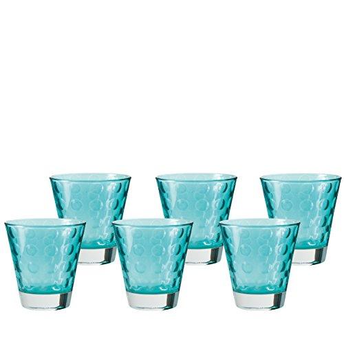 r klein Laguna, 6-er Set, 215 ml, türkisfarbenes Klarglas mit Colori-Hydroglasur, 017995 ()