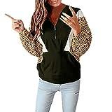 Wawer   Winter Pullover Damen warm Leopard Nähte Reißver schlusstasche Langarm Pullover in Herbst und Winter Vordere Kängurut