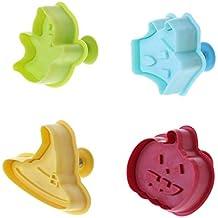 Biniwa - Juego de 4 moldes para galletas de Halloween en 3D, herramienta para decorar