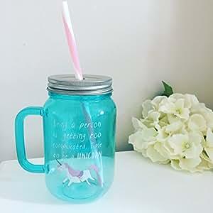 Einhorn Mason Jar Time To Be A Unicorn türkis Kinder Trinkflasche mit Trinkhalm