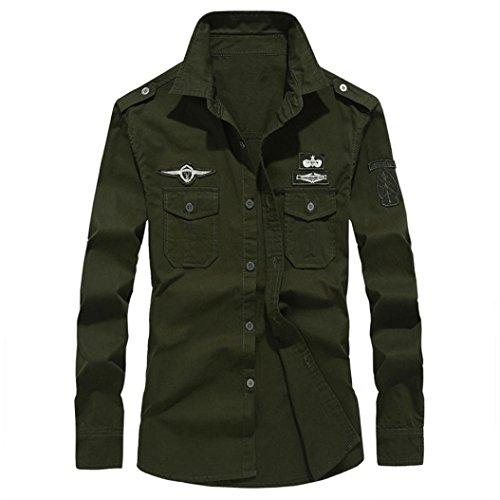 Ashop - camicia uomo slim fit camicia/top autunno maniche lunghe da uomo casual in cotone con risvolto costume/abbigliamento/t shirt/magliette(xxxl,verde militare)