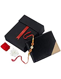 K London Rakhi Gift Hamper For Brother - Classic Black & Beige Men's Faux Leather Wallet And Rakhi Combo Gift...