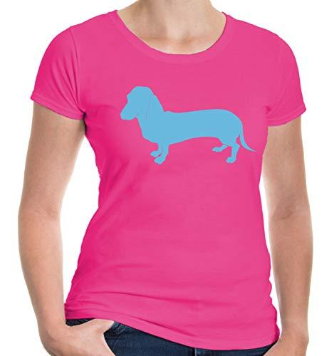 buXsbaum® Damen Kurzarm Girlie T-Shirt bedruckt Dackel-Silhouette | Haustier Futter Hund | XS fuchsia-skyblue Rosa