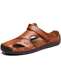 f04db1c7e3b Hombres Verano Sandalias de Cuero Roman Outdoor Beach Zapatillas Suaves  Slip en Zapatos cómodos de la