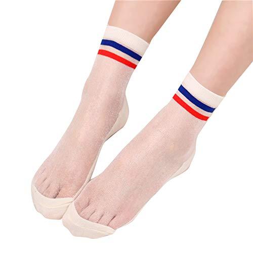HCFKJ  Socken, Frauen Streifen Mesh Glass Silk Socken Ultradünne Transparente Kristall Sommer Socken (WH)