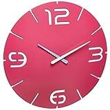 TFA Dostmann Contour Design 60.3047.12–Orologio da Parete, in plastica, Colore: Rosa/Bianco, Diametro 350X (H) 35mm,