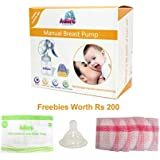 Adore Manual Breast Feeding Pump With Feeding Bottle,Bottle Teat,Breast Pads (4 Units) And Sterilizer Bag (1 Unit)