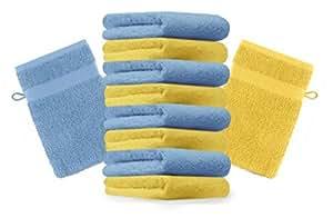10er Pack Waschhandschuhe Waschlappen Premium Farbe Gelb & Hell Blau Größe 16x21 cm Kordelaufhänger 100% Baumwolle
