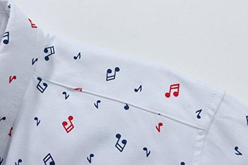 SSLR Herren Musik Note Button Down Freizeit Langarm Hemd Weiß