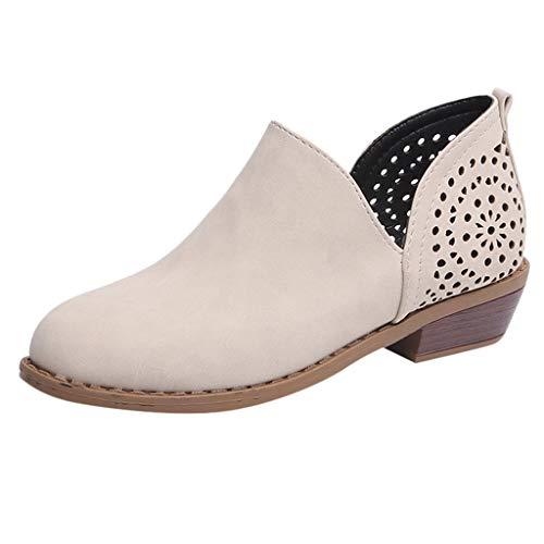 Boots Stiefeletten Damen ♥ Loveso♥ Kurzschaft Kurze mit Absatz Ankle Boots Bequem Stiefel Sommer Aushöhlen Low Top Ankle Boots Blockabsatz Stiefel Elegant Schuhe -