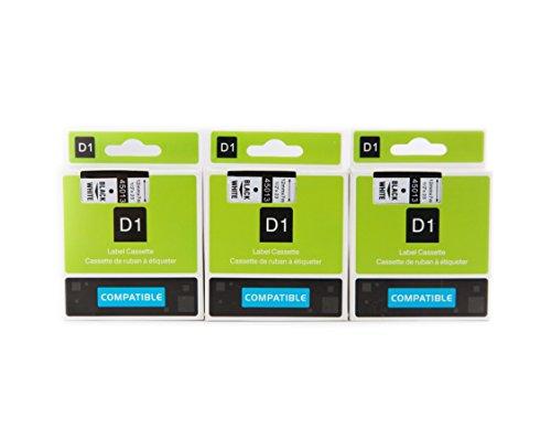 3er Kompatibel für Dymo D1 45013(S0720530) Schriftband Kassette Beschriftungsbänder Schriftbänder Etikettenband 12mm x 7m Schwarz auf weiß für LabelManager LabelPoint LabelWriter für DYMO LabelPOINT & LabelManager LM100 / LM120P / LM150 / LM160 / LMPC2 / LM200 / LM210D / LM220P / LM260 / LM280 / LM300 / LM350 / LM400 / LM260P / LM350D / LM360D / LM420P / LM450 / LP350 / LP100 / LP150 / LP200 / LP250 / LP300 / PC / PC2 / PnP / PnP WiFi / LW400 / LW450 Duo