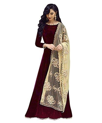 Rangrasiya Womans Taffeta Silk Designer Party Wear Maroon Anarkali Salwar Suit
