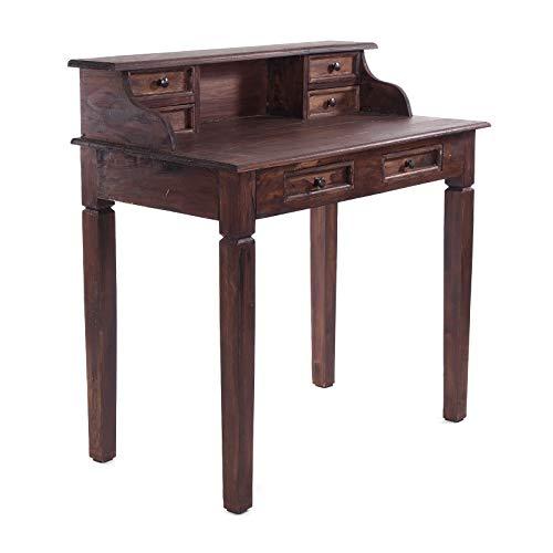 Vintage Design MASSIVHOLZ SEKRETÄR Imperial   Mahagoni Holz, 101x97x55cm (HxBxT)   Schreibtisch mit 6 Schubladen im antiken Kolonialstil   Farbe: 03 Dunkelbraun
