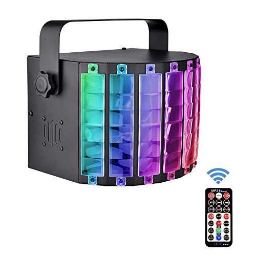 DJ Licht, Portable Disco Licht mit Fernbedienungm, 25W partybeleuchtung mit 3 modi Lichteffekt und Bluetooth MP3 Musik Player, ideal für Partyraum, Bühne, Clubs, Bars und Discotheken
