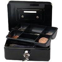 Cathedral - Caja metálica para dinero (cerradura, 2 llaves, 10 cm), color negro