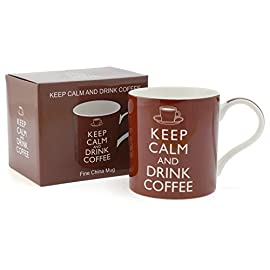 Keep Calm and Drink Coffee Mug – Perfect Novelty Fine Bone China Mugs for coffee – Ideal Office Mug for work mates…