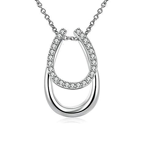 AMDXD Bijoux Plaqué argent pendentif Colliers pour femme Argent 2ovales Oxyde de Zirconium Collier