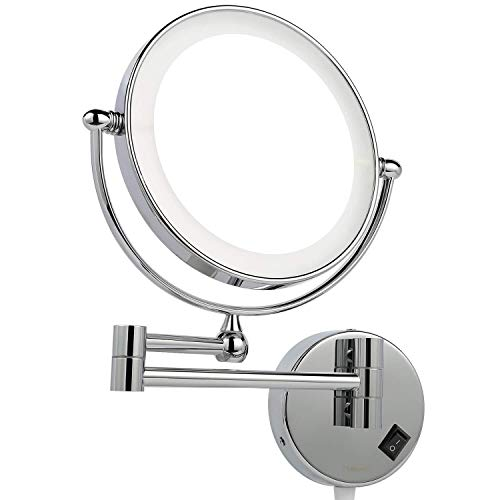 Xjm Espejos de baño montado en la Pared con 7X Magnificación, Maquillaje de Doble Cara Espejo de Aumento...