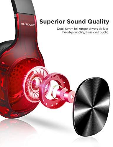 Audífonos inalámbricos Bluetooth AUSDOM M09 sobre la Oreja,  Plegables,  Ligeros,  cómodos,  con Sonido estéreo y micrófono Integrado para teléfono,  Ordenador,  iPad,  Compatible con Tarjeta TF
