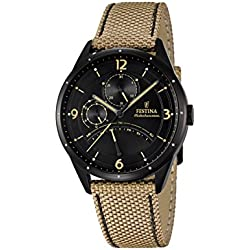 Festina Men's Quartz Watch with Black Dial Analogue Display and Beige Leather Strap F16849/1