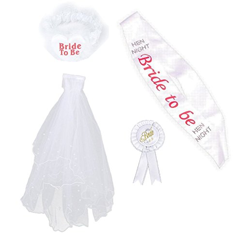 LADIES 4PC HEN NIGHT ACCESSORY KIT - PERFECT FOR HEN PARTY FANCY DRESS NIGHT - INCLUDES SASH,ROSETTE,VEIL & GARTER