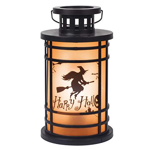 ITART Halloween Laterne LED Beleuchtung Hänge Laterne Batterie betrieben Spukhaus Indoor Party Dekor (Flammeneffekt-Hexe)