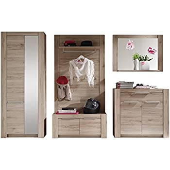 trendteam cg91190 garderoben set garderobe 5 tlg eiche san remo hell nachbildung bxhxt. Black Bedroom Furniture Sets. Home Design Ideas