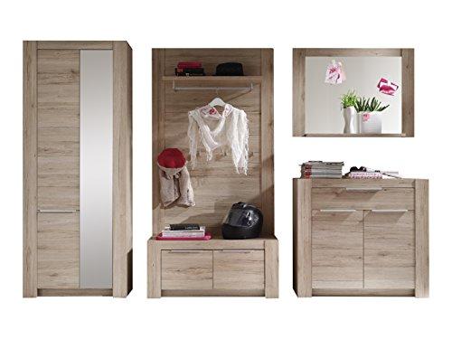 trendteam CG91190 Garderoben Set Garderobe 5-tlg. Eiche San Remo hell Nachbildung, BxHxT 298x190x42 cm