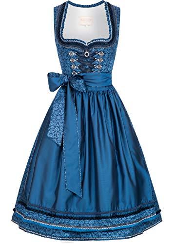 Krüger-Collection Damen Trachten-Mode Midi Dirndl Christl in Blau traditionell, Größe:48, Farbe:Blau