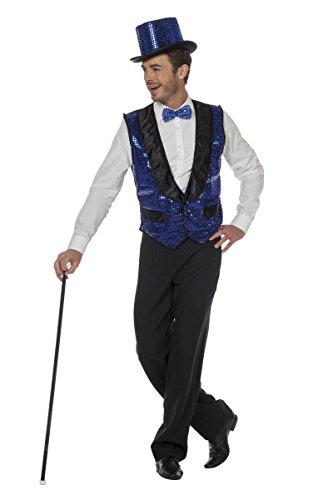 blaue Pailletten-Weste Show Herren Kostüm Karneval Fasching - Herren Pailletten Weste Kostüm