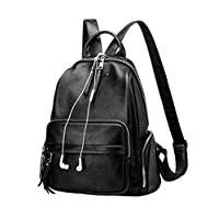 YoungSoul Womens Backpack Purse PU Leather Rucksack Waterproof Anti-theft Handbag School Bag Black