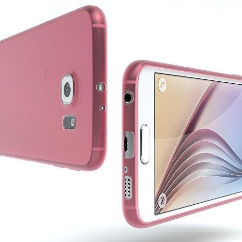 """EAZY CASE Handyhülle für Samsung Galaxy S6 Hülle - Premium Handy Schutzhülle Slimcover """"Clear"""" hochwertig und kratzfest - Transparentes Silikon Backcover in Klar / Durchsichtig Matt Rosa"""