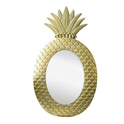 MLMHLMR Badezimmerspiegel Oval Wandmontage Goldharz Ananas Grenze Schlafzimmer Bad Hotel Rasierspiegel Wandspiegel - Ananas Grenze