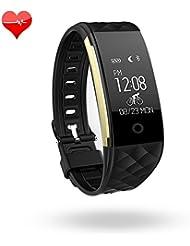 Activity Tracker Herzfrequenz Monitor Fitness Health Tracker Wasserdicht Smart Armband Band mit Schrittzähler Schlaf Monitor Schritt Kalorienzähler Bluetooth-Armband für iPhone Android