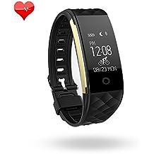 Pulsera inteligente de fitness, con monitorizador de actividad, pulsómetro, saludable, resistente al agua, con podómetro, monitorizador de sueño y de pasos, contador de calorías, Bluetooth, para iPhone y Android, negro