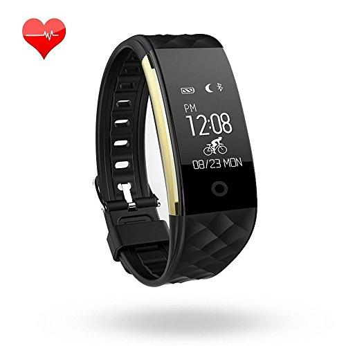 Fitness-Armband, wasserdicht, mit Herzfrequenzüberwachung, Schlafüberwachung, Schrittzähler, Kalorienzähler, Bluetooth-Armband für iPhone / Android, schwarz